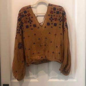 Free People Mustard Embroidered Top